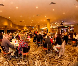 Diners enjoying a meal at Tomakin Club Restaurant near Batemans Bay